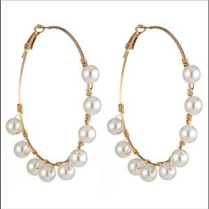 Gold plated Simulated Pearl Round Hoop Earring
